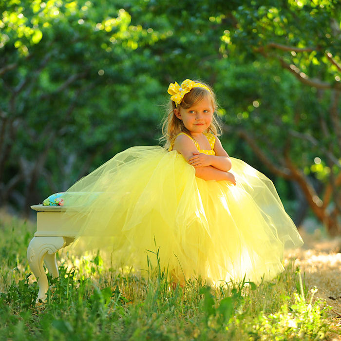 Yellow Polka Dot Tutu Dress Fairytale Princess Costume Outdoor Wedding Flowergirl Outfit Designer Couture Tulle Gown Girls Bow Headband Set