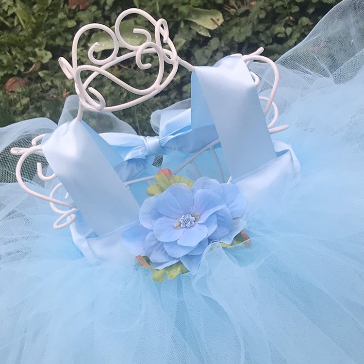 Blue Tulle Dress Fairy Princess Tutu Gown Periwinkle Inspired Outfit Infant Baby Toddler Child Flower Girl Attire Floral Headband Gift Set