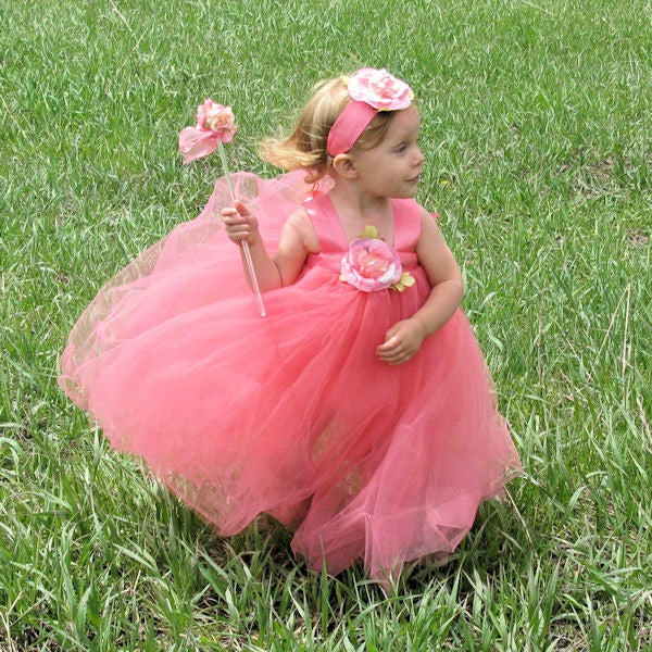 Coral Flower Girl Dress Tulle First Birthday Party Special Occasion Floor Length Designer Gown Long Toddler Tutu Princess Glamour Photo Prop