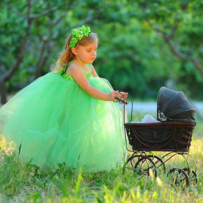 Green Tutu Dress Fairytale Woodland Forest Fairy Halloween Costume Special Occasion Formal Gown Birthday Photo Outfit Tulle Flower Girl Set