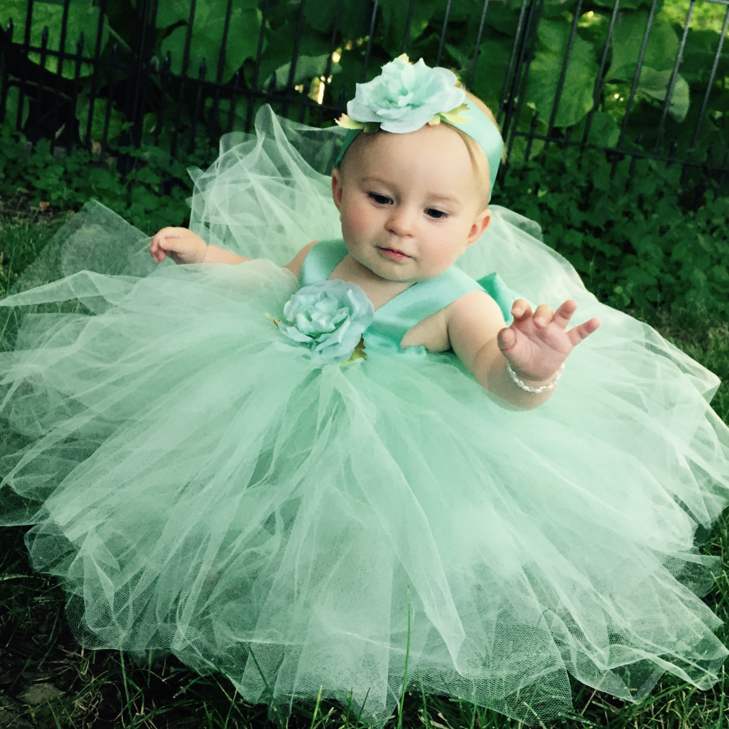 Mint Green Tulle Baby Blessing Dress Flower Girl Attire Christening Gown First Birthday Outfit Fairytale Tutus Special Event Photo Prop Set