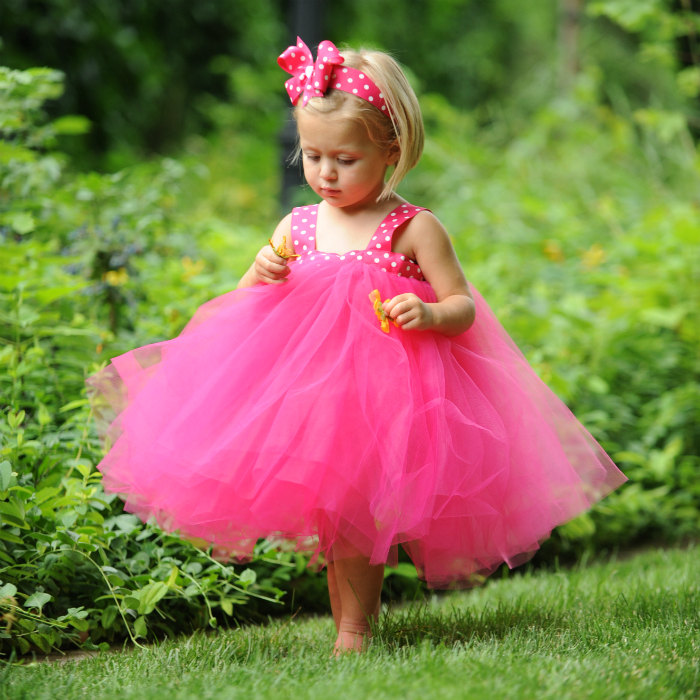 Pink Polka Dot Dress Flowergirl Gown Tulle Flower Girl Tea Length Toddler Tutu Outdoor Wedding Photo Shoot Prop Formal Special Occasion Set