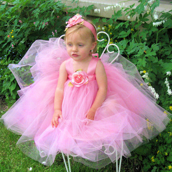Pink Tulle Dress Fairytale Tutus Fairy Princess Formal Flower Girl Gown Baby Toddler Kids First Birthday Party Set Holiday Photo Prop Outfit