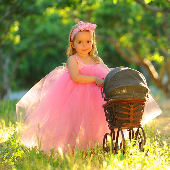 Pink Tulle Gown Flower Girl Dress First Birthday Outfit Baby Toddler Polka Dot Ribbon Hair Bow Headband Kids Handmade Photo Prop Gift Set
