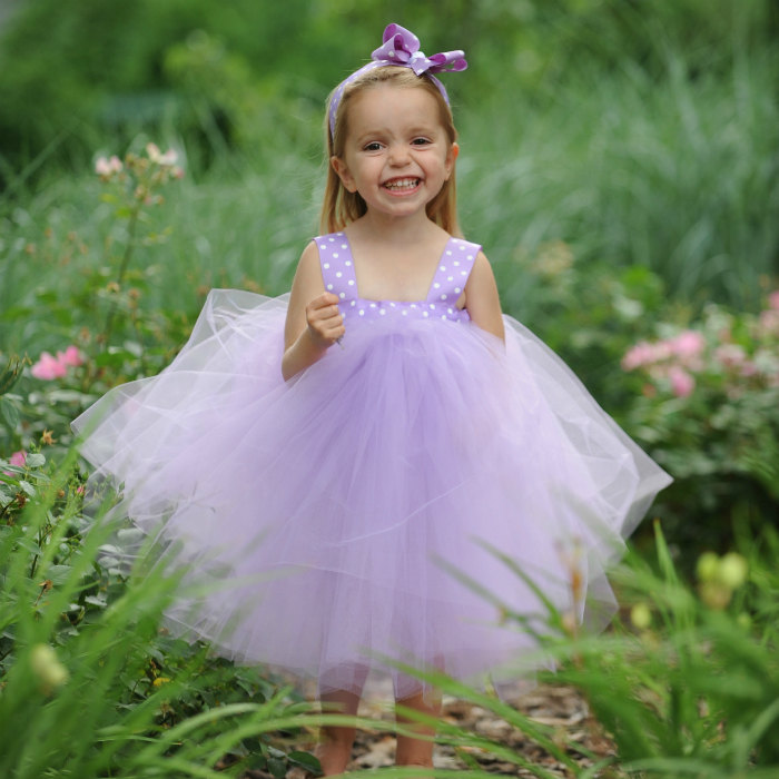 Purple Tutu Dress Lavender Tulle Flower Girl Gown First Birthday Outfit 1st Bday Baby Girl Polka Dot Headband Fairy Princess Photo Prop Idea