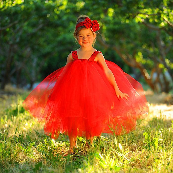 Ladybug Dress Red Black Polka Dot Ribbon Sash Bow Headband Tea Length Tulle Gown Halloween Costume Toddler Girl Birthday Photo Shoot Outfit