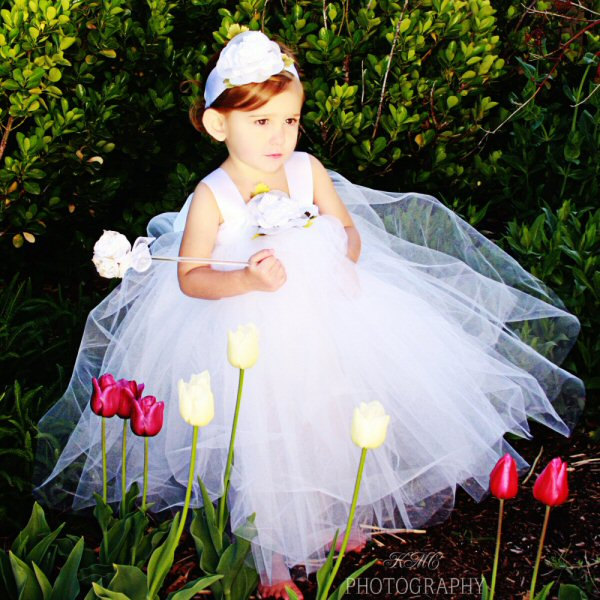 White Tulle Flower Girl Dress First Birthday Outfit Infant Baby Toddler Silk Rose Headband 1st Bday Photo Props Christmas Tutu Gown Gift Set